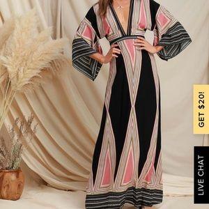 Lulu's Montecito Black Print Maxi Dress- Med